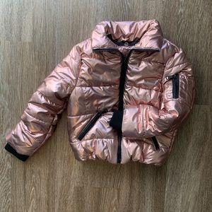 5-6T metallic pink puffer coat